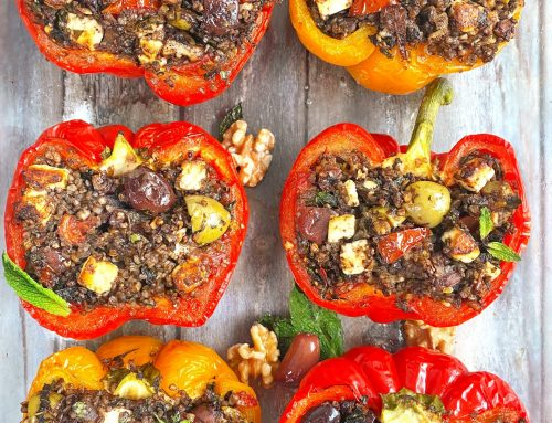 Walnut, Feta & Olive Stuffed Bell Peppers with Buckwheat and Mint